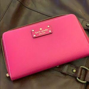 KATE SPADE pink travel passport card organizer
